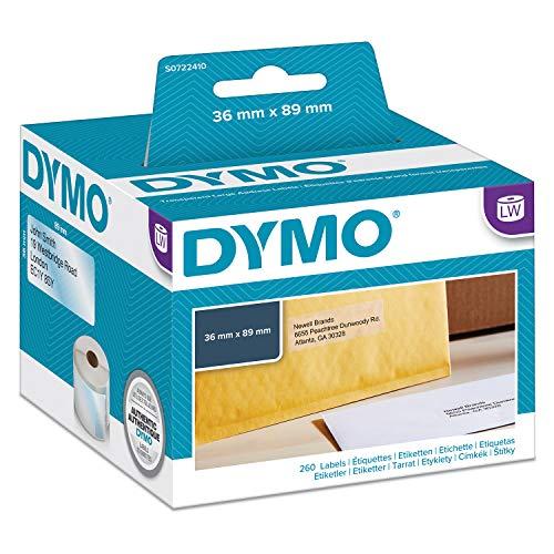 Dymo S0722410 LabelWriter Selbstklebende Adressetiketten, 36 x 89 mm, 1 Stück à 260 Stück, schwarz auf transparentem Druck