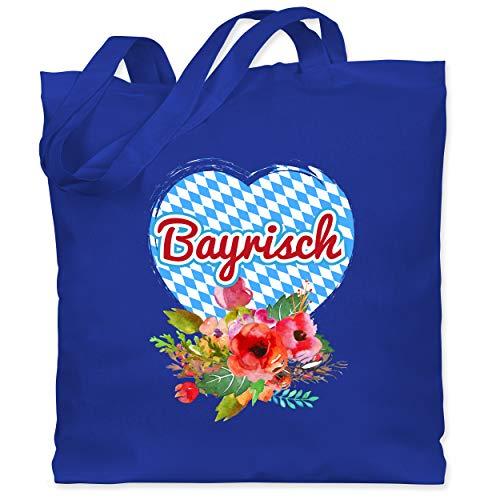 Shirtracer Oktoberfest & Wiesn Taschen - Herz Bayrisch und Blumen - Unisize - Royalblau - XT600_Jutebeutel_lang - WM101 - Stoffbeutel aus Baumwolle Jutebeutel lange Henkel