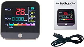 Home Air Quality Monitor, PM2.5 Formaldehyde Detector Air Quality Monitor Dust Sensor LCD Digital Display Pollution Tester