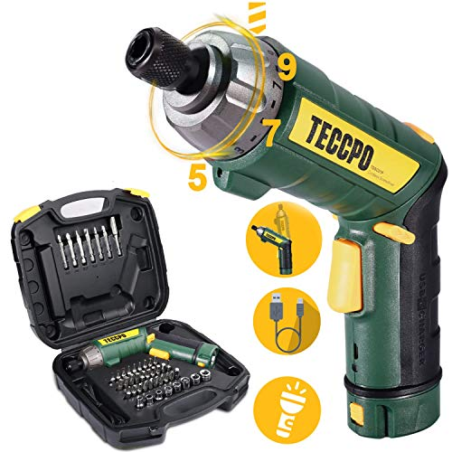 Cordless Screwdriver, 6Nm TECCPO Electric Screwdriver, 4V 2000mAh Li-ion, with 45 Free Accessories, 9+1 Torque Gears, Adjustable 2 Position Handle with LED, USB Rechargeable - TDSC01P