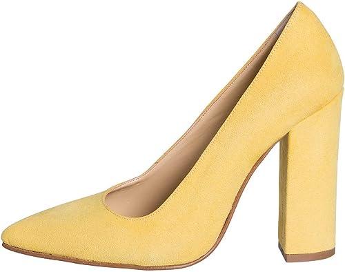 Decollete mujer de Ante amarillo Talla número 38tacón 10cm Made in  Estudio Creaciones ecg-04