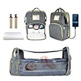 3 in 1 Diaper Bag Backpack with Changing Station, Nanssigy Travel Back Pack Sleeping Mummy Bag for Baby Boys with USB Charge Port and Stroller Straps, Large Capacity, Waterproof (Gray)