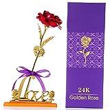 Rose Feuille d'or 24K, Fleurs artificielles Rose avec présentoir dans Une boîte Cadeau, Cadeau pour la Saint-Valentin,fête des mères,Anniversaire,Mariage,Noël,Thanksgiving