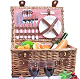 SatisInside New USA Insulated Deluxe 16Pcs Hamper Wicker Picnic Basket Set for 2 People - Reinforced Handle - Red...