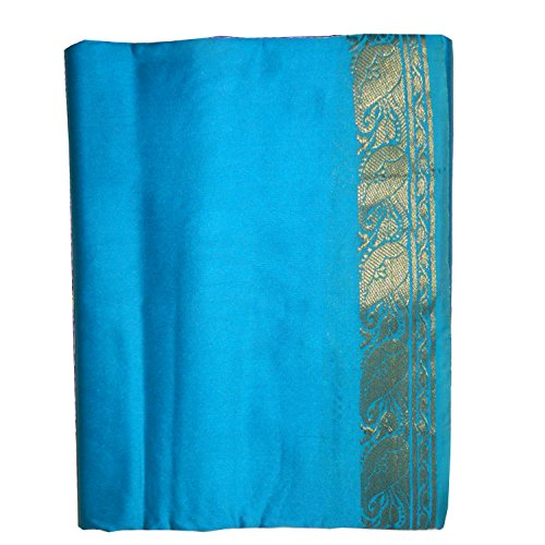 Sari azul turquesa brocado dorado vestido tradicional de la India ropa instrucciones para ponérselo tarjeta con bindis