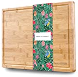 Samuel Alexander Bamboo Cheese Board & Cutting Board with Juice Groove - Professional Wooden...