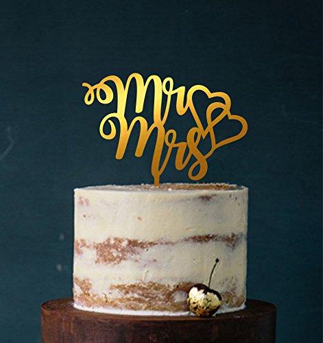 Cake Topper, Mr & Mrs, Farbwahl - Tortenstecker, Tortefigur Acryl, Tortenständer Etagere Hochzeit Hochzeitstorte Kuchenaufstecker (Gold (verspiegelt einseitig))