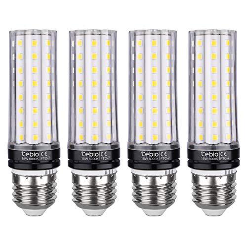 Tebio LED Bombillas 15W E27 6000K Blanco Frío LED Candelabros bombillas, 120W Bombilla Incandescente Equivalente, 1350LM, LED vela Bombillas No regulables(4 Packs)