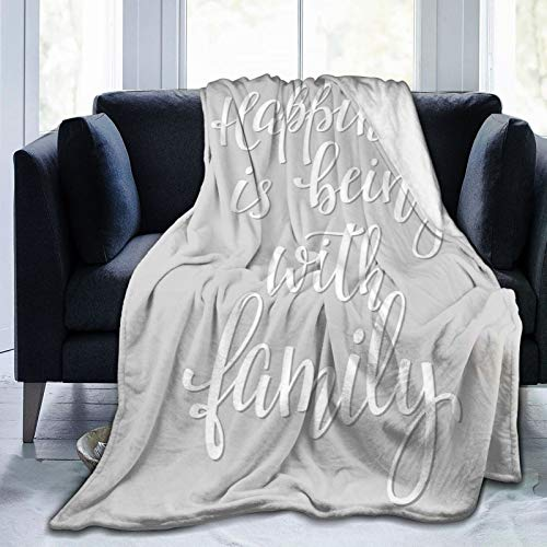 Manta mullida, con mensaje de felicidad, escritura a mano, inspiración caligrafía, ultra suave, para dormitorio, cama, TV, cama de 127 x 101 cm