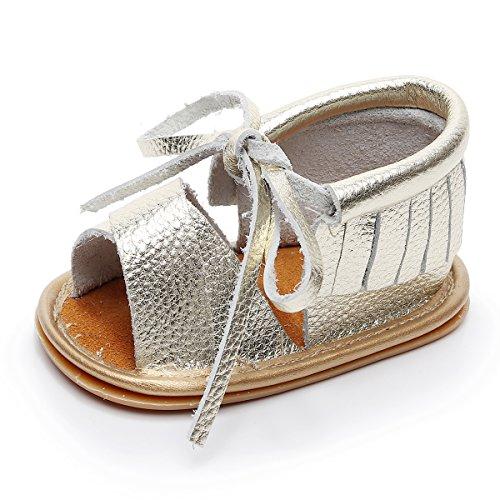 HONGTEYA Boys Girls Genuine Leather Hard Soled Shoes Summer Fringe Baby Sandals Gold
