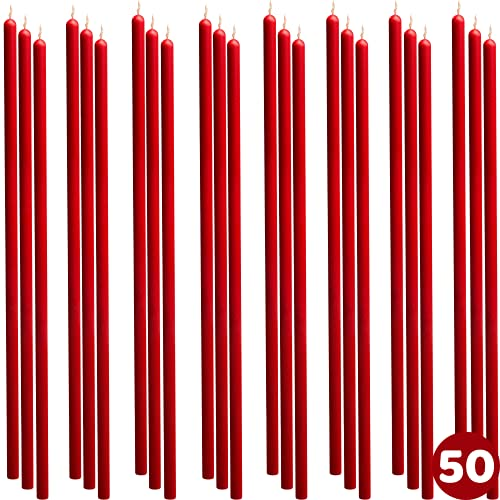 50 pcs 8' Red Thin-Taper Candles 100% Pure Beeswax Handmade - Natural Scent with Cotton Wick, Dripless, Smokeless, Non Toxic - for Dinner, Birthday Cake, Hanukkah, Christmas