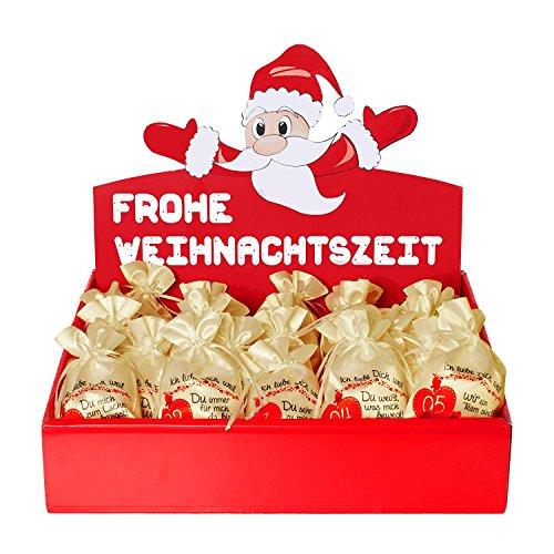 24 Adventskalender Beutel (10 x 15 cm) - Ich Liebe Dich Weil … mit Adventsbox