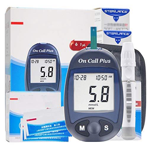 LIBWX Blutzuckermessgerät Glukometer-Kit Teststreifen Nadeln Lanzetten Medizinisches Diabetes-Tester-Überwachungssystem (1 + 50)