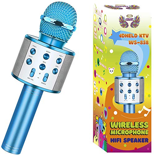 Wireless Bluetooth Karaoke Microphone for Kids Christmas Birthday Home Party for Android/iPhone/PC or All Smartphone All-in-One Karaoke Machine (Blue)