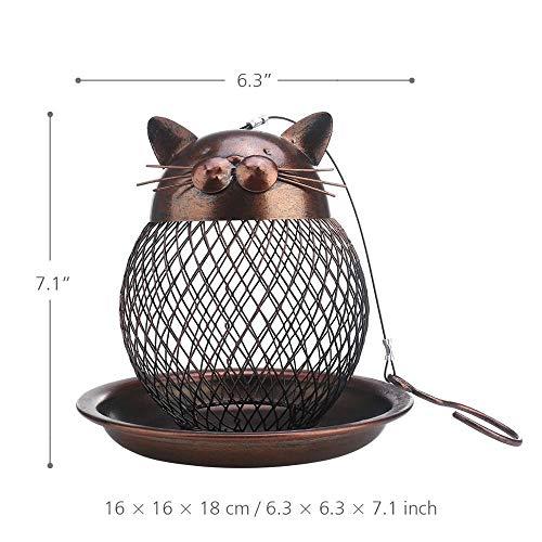 GHDBHFD Cat Shaped Bird Feeder Katze geformte Weinlese handgemachte Außen Dekor Villa Garten Dekoration Hängen Vogel Außen Feeder