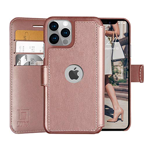 LUPA iPhone 12/12 Pro Wallet Case -Slim iPhone 12/12 Pro Flip Case with Credit Card Holder, for Women & Men, Faux Leather iPhone 12/12 Pro Purse Cases with Magnetic Closure, Rose Gold