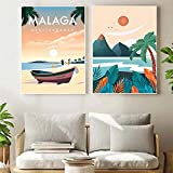 APAZSH NóRdico Vintage Viajes Ciudades Lienzo Pintura Malaga Playa Poster E Impresiones Paisaje Pared Arte Cuadros para Decoracion De La HabitacióN del Hogar 40x50cmx2 Sin Marco
