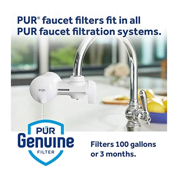 PUR RF3375 Water Filter Replacement for Faucet Filtration Systems, 2 Pack, Multicolor 7 PUR BASIC WATER FILTER REPLACEMENT: PUR's genuine faucet filters are certified to reduce over 70 contaminants, including 99% of lead, so you know you are drinking cleaner, great-tasting water FAUCET WATER FILTER: PUR faucet filters provide 100 gallons of filtered water, or 2-3 months of typical use, before you need a replacement. Only PUR faucet filters are certified to reduce contaminants in PUR faucet filter systems WHY FILTER WATER? Home tap water may look clean, but may contain potentially harmful pollutants & contaminants picked up on its journey through old pipes. PUR water filters, faucet filtration systems & water filter pitchers reduce these contaminants