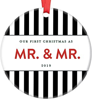 1st Xmas Mr and Mr 2019 Ornament Bold Modern Stripe Decor Gay Couple Mens Pride His and His Gift Ideas Marriage Equality Same Sex Christmas Holiday Tree Love Seasons Greetings 3