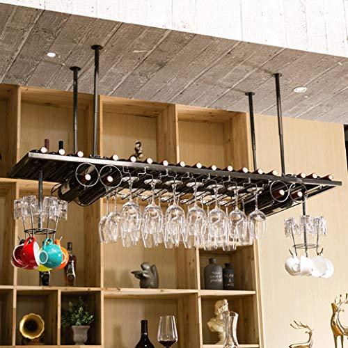 Wine Rack Wine Organizer Rack Wine Glass Holder Upside Down Wine Rack Simple Style Iron Hanging Wine Glass Rack Ceiling Decoration Shelf for Bars Restaurants Kitchens for Bars Restaurants Kitchens