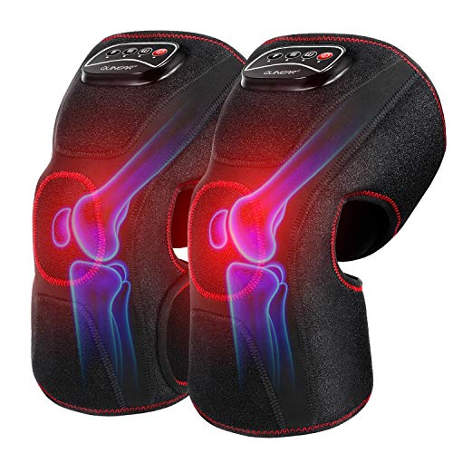 QUINEAR Knee Massager with Heat, Air Compression Leg Knee Brace Wrap for Arthritis Pain Relief Eletric Heating for Joint Pain, Cramps and Circulation 3 Modes & 3 Intensities
