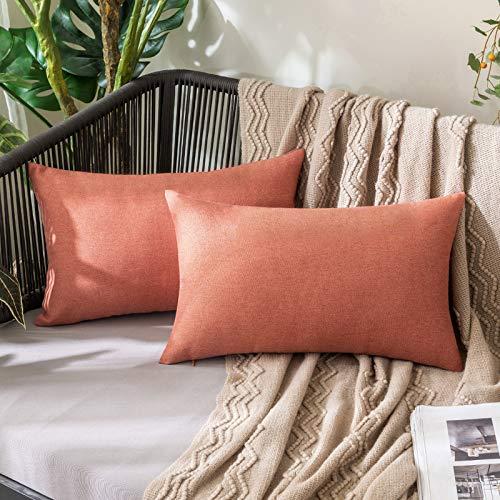 MIULEE Funda Cojines Impermeable de Lino Fundas de Almohadas al Aire Libre Decoración para Sofá Balcon Cama Silla Habitacion Oficina Sofa salón Dormitorio Lumbar 30x50 cm 2 Piezas Rojo Coral