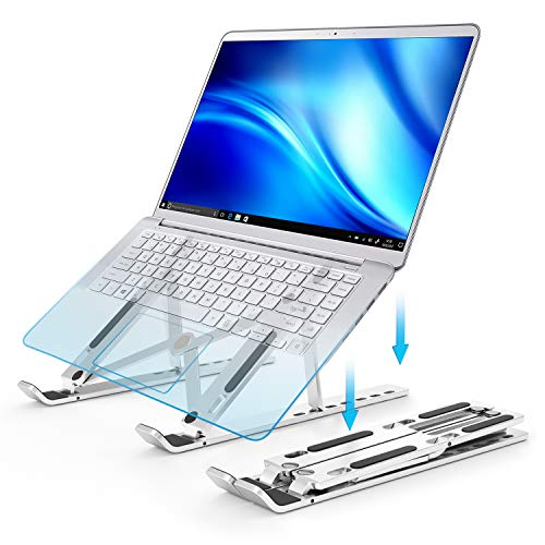 Laptop Stand, Laptop Riser Tablet Computer Stand Holder, Adjustable Aluminium Foldable Portable Ergonomic Notebook Stand, Compatible with MacBook, Asus, iPad, HP, Lenovo, Dell 10-15.6 Inches (Silver)