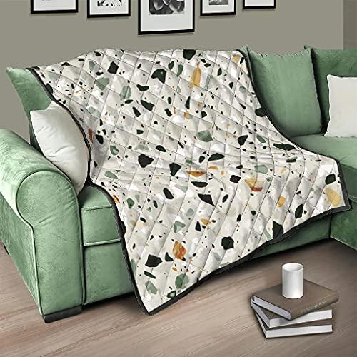 Flowerhome Terrazzo - Colcha con textura de mármol, para cama o sofá, para dormir, para adultos y niños, color blanco, 173 x 203 cm