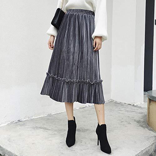 MU-PPX Falda para Mujer Otoño Invierno Faldas Plisadas De Cintura Alta Falda Midi Larga De Color Sólido,Gris, One Size