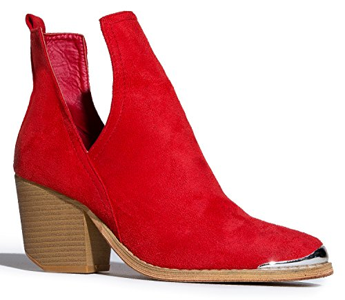 Western Slip On V-Cut Out Stacked Heel Bootie - Side Cut Metal Tipped Ankle Pull Cowboy Women's Boot,Red,10 B(M) US