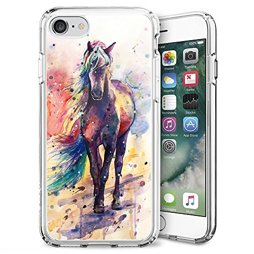 Slim Clear Flame Soccer Case for iPhone 7/8/SE 2020 Customized Design Soft TPU and Rubber Flexible Durable Shockproof iPhone 7/8/SE 2020 Protective Case-Anti-Slippery (Watercolor Horse)