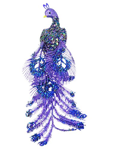 Christmas Concepts 37cm Glitter Laying Peacock Clip On Christmas Tree Decoration With Beads and Sequins (Purple)