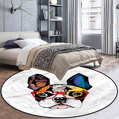 Art Polyester Printed Pattern Round Rug for Any Room French Bulldog Portrait Hipster 5'6' in Diameter