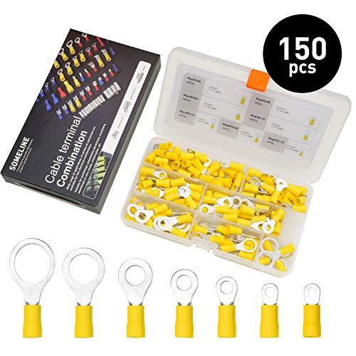 Kabelschuhe Kit Ring Kabelschuhe Isolierte Steckverbinder Stoßverbinder Quetschverbinder Flachstecker Anschlussklemmen Kabelverbinder für 4-6 mm² Kable SOMELINE Ringkabelschuhe 150 Stück in 7 Größe