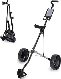 Foldable Golf Cart, 2Pcs/3Pcs Wheels Push Pull Golf Steel Frame Cart Trolley Swivel (Black)