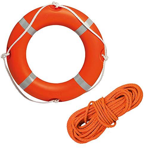 BTK Kit Salvagente Anulare Ciambella Omologato con 30 mt di Cima Galleggiante da 8 mm per Barca Salvataggio Mare Piscina Bagnino