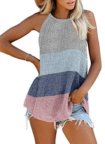 BLENCOT Women's Halter Knit Tank Tops Casual Loose Sleeveless Cami Blouse Shirts