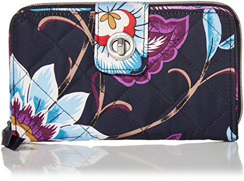 Vera Bradley Women's Performance Twill Turnlock Wallet with RFID Protection, Mayfair in Bloom, One Size