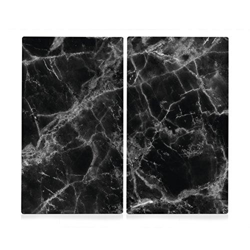 """Zeller 26314 Herdabdeck-/Schneideplatten-Set """"Marmor"""", 2-tlg., Glas, schwarz, ca. 30x52 cm"""