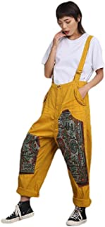 neveraway Womens Floral Printed Cotton Ethnic Style Relaxed Plus-Size Bib Overalls