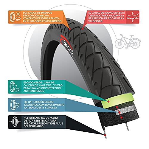 Fincci Pair 26 x 1.95 Inch 53-559 Slick Tyres with 2.5mm Antipuncture Protection for Road Mountain Hybrid Bike Bicycle (Pack of 2)