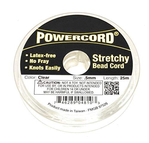 82 Feet Powercord Stretch Elastic Cord 0.5mm for Jewelry Making