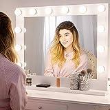Chende Grand Miroir Maquillage Hollywood Eclairé, Miroir Lumineux Blanc avec...
