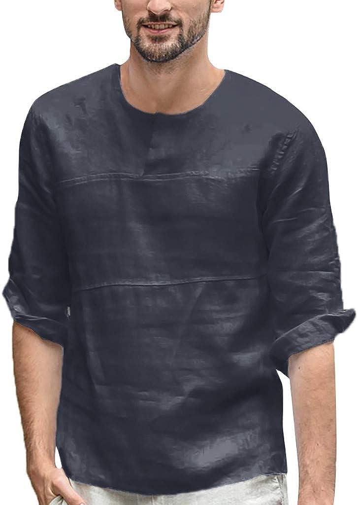 HONGJ Men's Cotton Linen 3/4 Sleeve Tops, Fall Crewneck Button Down Casual Shirts Beach Loose T-shirts Tops