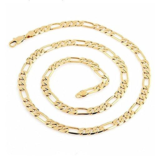 LSDMY - Collana da uomo e donna, placcata in oro 14 k, 4 mm e ottone placcato oro, colore: 61 cm (24 pollici), cod. LSD052301