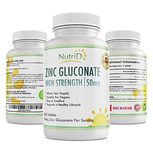 Zinc Gluconate 50mg Tablets - High Strength Zinc 365 Tablets, Full Year Supply, Made in The UK - Suitable for Vegans, Supports Skin Health, Digestion, Protein Production and Immune System