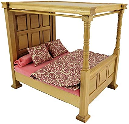 Amazon Com Melody Jane Dollhouse Tudor Light Oak Tester Bed 4 Poster With Bedding Bedroom Furniture Toys Games