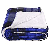 SOCHOW Sherpa Plaid Fleece Throw Blanket, Double-Sided Super Soft Luxurious Bedding Blanket 60 x 80 inches, Blue