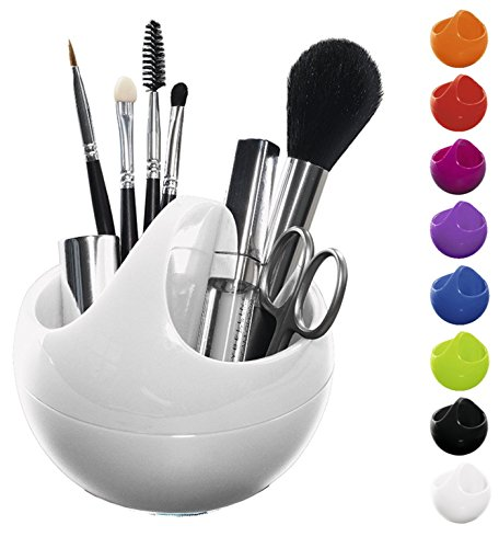 Spirella Kosmetikorganizer Bowl Aufbewahrungsbox für Make Up und Schmuck 10,5x9,5cm Weiß