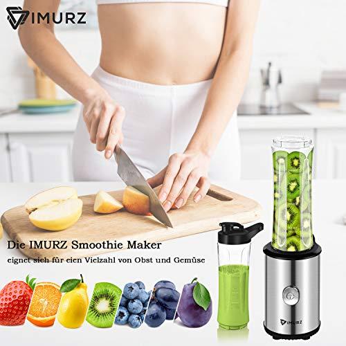 IMURZ Mixer Smoothie Maker Elektrisch, Mini Standmixer, Obst Gemüseshakes Blender 350W mit 2x 600ml Flasche BPA Frei, 4-Klingen Messer, Gebürstetes Edelstahl